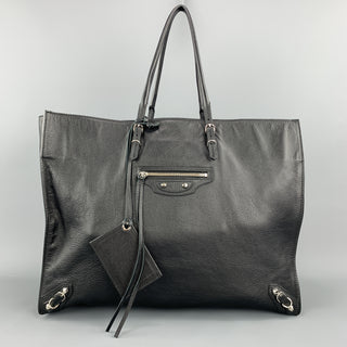 BALENCIAGA Black Leather Large CITY Tote Handbag