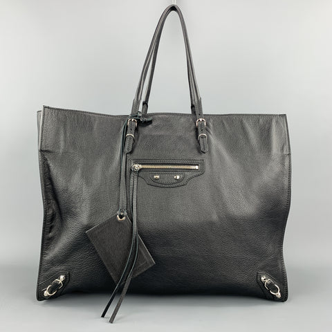 BALENCIAGA Black Textured Leather Large CITY Tote Handbag