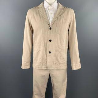 RAG & BONE Size L Oatmeal Stripe Cotton Notch Lapel Suit