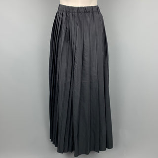 SARA LANZI Size M Black Pleated Wool / Silk Long Skirt