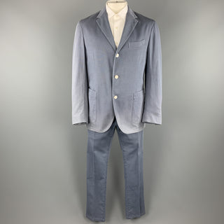 BOGLIOLI Size 44 Blue Cotton Notch Lapel Casual Suit