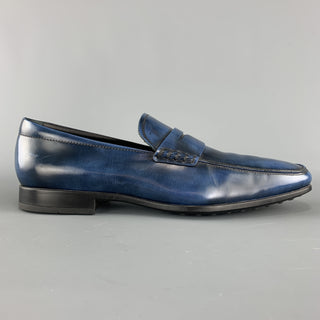 TOD'S Size 10 Blue Antique Leather Slip On Penny Loafers