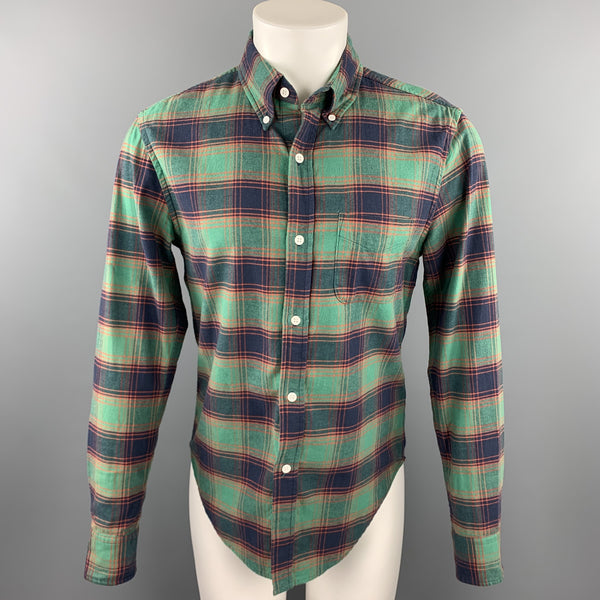 BAND OF OUTSIDERS Size S Green & Navy Plaid Cotton Button Down Long Sleeve Shirt