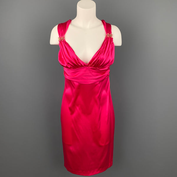 ROBERTO CAVALLI Size 8 Fuchsia Satin Silk Sheath Cocktail Dress