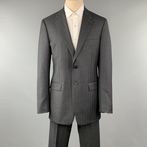 PRADA 42 Long Charcoal Stripe Wool 36 x 34 Suit