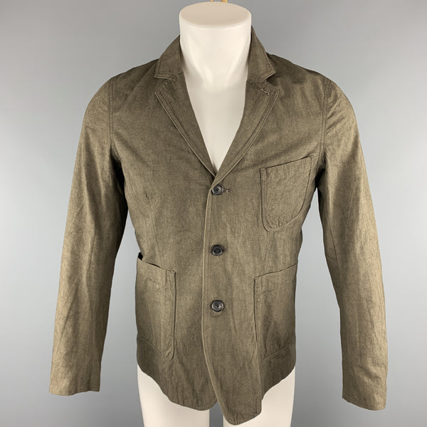 WINGS + HORNS Size S Olive Solid Cotton / Linen Notch Lapel Jacket