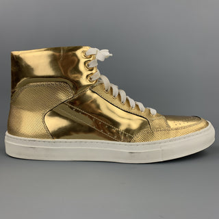 ALEJANDRO INGELMO Size 12 Gold Metallic Leather High Top Sneakers
