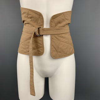 JIL SANDER Size 6 Tan Quilted Cotton D Loop Belt