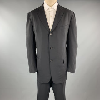 GIANLUCA ISAIA 46 Black Solid Wool Notch Lapel 40 x 36 Long Suit