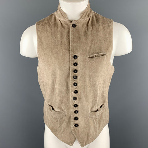 JOHN VARVATOS Size S Bone Distressed Cotton Notch Lapel  Vest