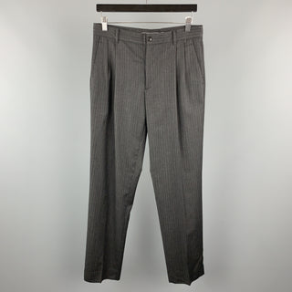 MIU MIU Size 30 Stripe Dark Gray Wool 31 Pleated Dress Pants