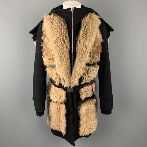 HOOD BY AIR Size 36 Black & Tan Fur Panel Layer Hooded Coat