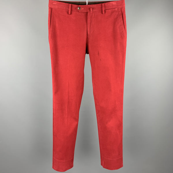 PT01 Size 30 Red Cotton Zip Up Casual Pants