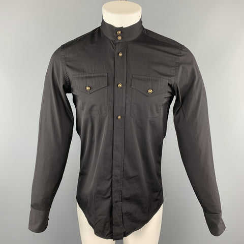 GUCCI Size S Black Solid Cotton Nehru Collar Long Sleeve Shirt