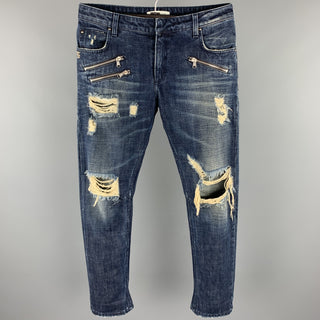 PIERRE BALMAIN Size 30 Indigo Distressed Denim Zip Fly Jeans