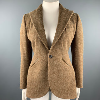 RALPH LAUREN Size 12 Brown Herringbone Lambswool Peak Lapel Jacket