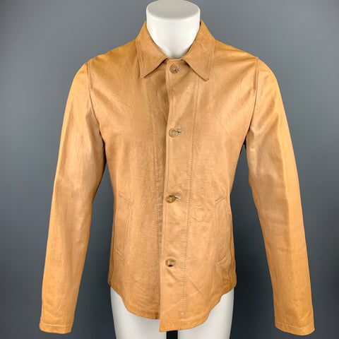 JIL SANDER Size 40 Tan Distressed Leather Drawstring Jacket