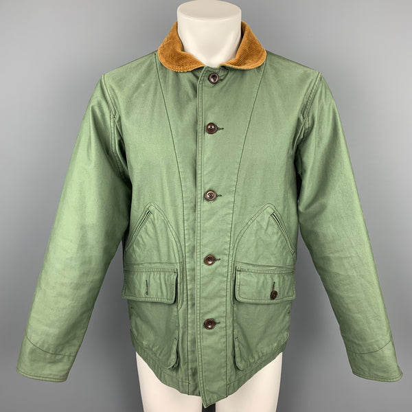 ONES STROKE Size M Olive Cotton Lined Corduroy Collar Buttoned Jacket