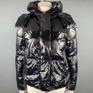CALVIN KLEIN Size L Navy Quilted Nylon Hooded Jacket