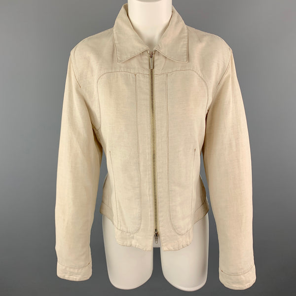 TRUSSARDI Size S Beige Cotton / Flax Zip Up Contrast Stitch Jacket