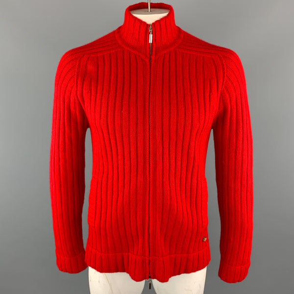 MOSCHINO Size XL Red Ribbed Cashmere High Collar Slit Pockets Zip Up Pullover Sweater