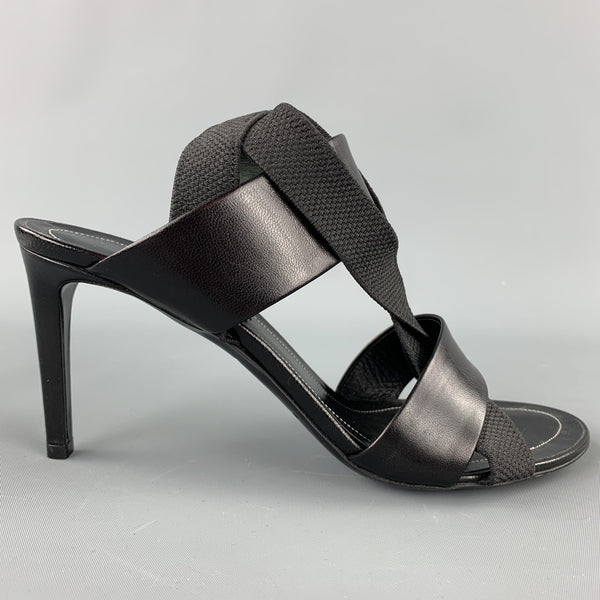BALENCIAGA Size 8 Black Leather Ribbon Strappy Heel Sandals