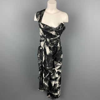 VIVIENNE WESTWOOD Size 8 Black & White Marbled Silk Strapless Cocktail Dress