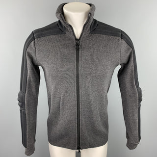 PRADA Size 38 Dark Gray Mixed Materials Wool Zip Up Jacket