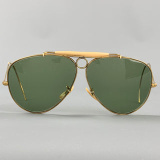 Vintage RAY-BAN Gold Tone Metal Green Lens Sunglasses