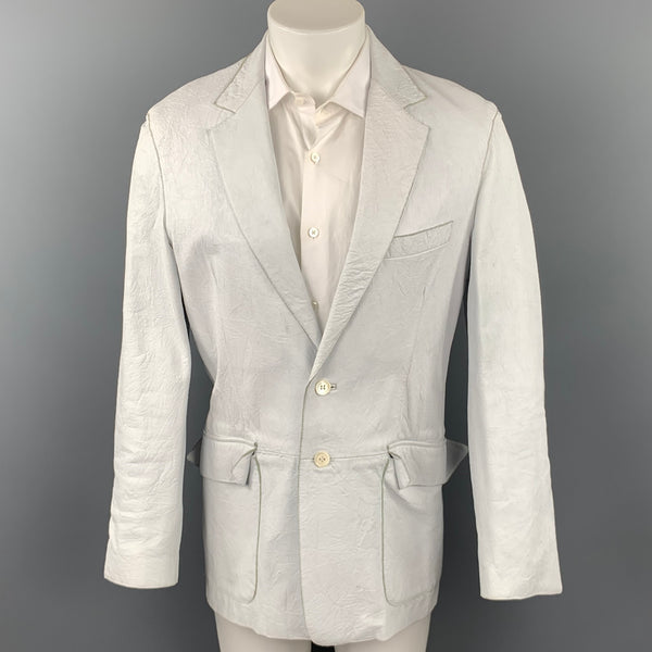 PAUL SMITH Size 40 Off White Distressed Leather Notch Lapel Sport Coat