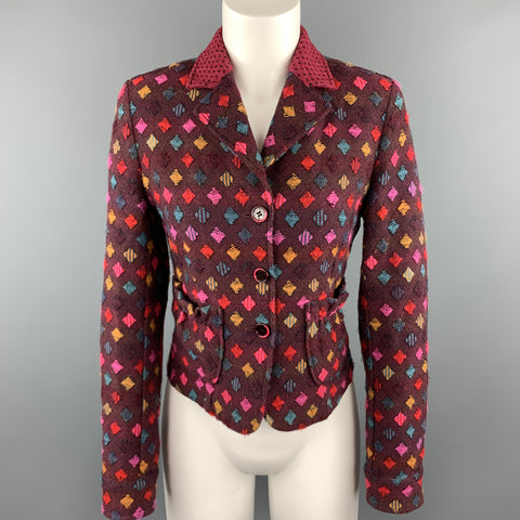 ETRO Size 6 PLum Multi-Color Print Wool Blend Knit Cropped Blazer
