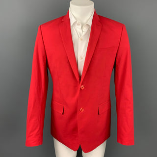 VERSACE COLLECTION Size 40 Red Cotton Notch Lapel Sport Coat
