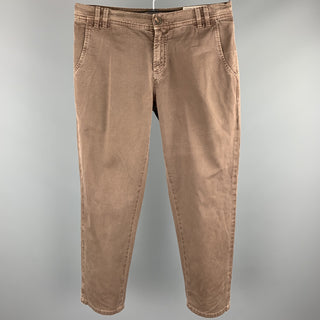 BRUNELLO CUCINELLI Size 34 Brown Wash Cotton Zip Fly Casual Pants