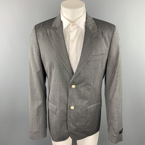 MARC JACOBS Size 40 Grey Stripe Wool Peak Lapel Sport Coat
