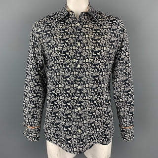 PEPE JEANS LONDON Size L Black & White Floral Cotton Button Up Long Sleeve Shirt