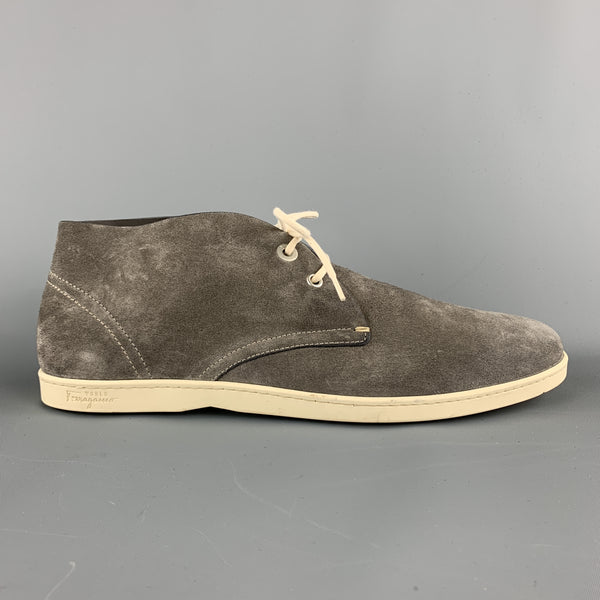 SALVATORE FERRAGAMO Size 11.5 Grey Suede Lace Up Chukka Boots