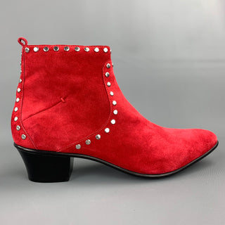 CoSTUME NATIONAL Size 10 Red Studded Suede Side Zipper Boots