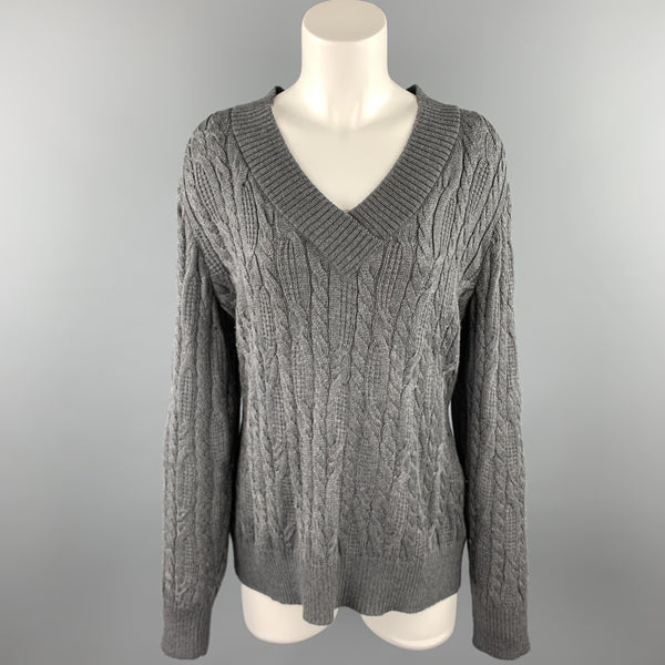 ST. JOHN SPORT Size L Grey Cable Knit Wool Blend V-Neck Sweater