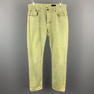THVM Size 32 x 30 Green Wash Cotton Button Fly Jeans