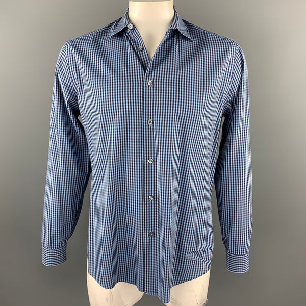 PAUL SMITH The Byard Size L Blue & Navy Checkered Cotton Button Up Long Sleeve Shirt