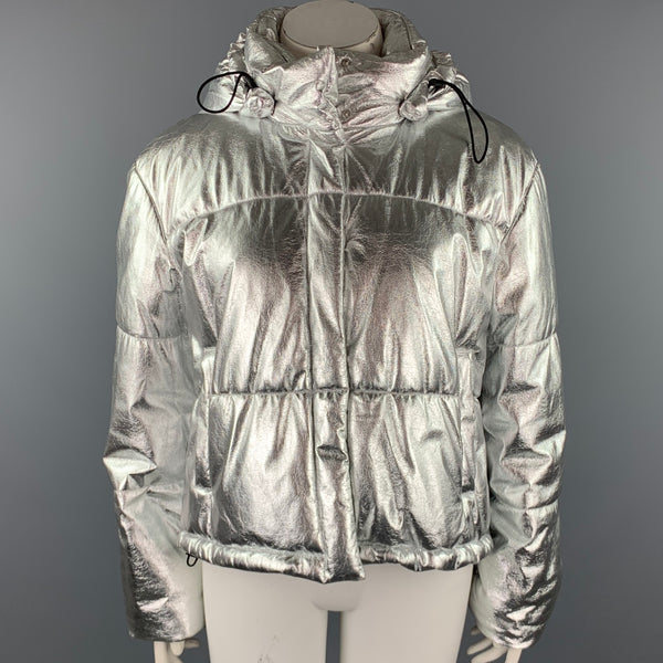 MSGM Size XL Silver Polyester Snap Button Hooded Jacket