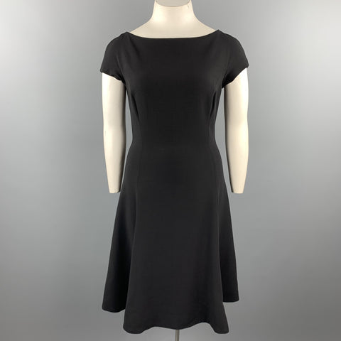 RALPH LAUREN Size 12 Black Wool Boat Neck Fit Flair Dress