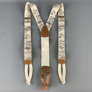 TRAFALGAR Grey Silk Tennis Match Print Ribbon Suspenders