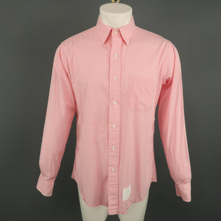 THOM BROWNE Size XL Pink Plaid Cotton Button Up Long Sleeve Shirt