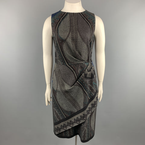 ETRO Size 12 Grey Printed Wool Blend Sleeveless Drape Shift Dress