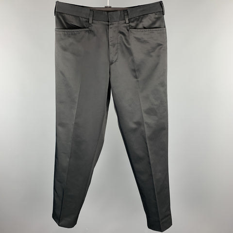 PRADA Size 34 Black Cotton / Nylon Zip Fly Dress Pants