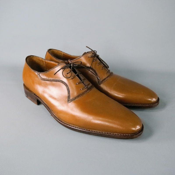 A.TESTONI Size 12 Caramel Solid Leather Lace Up Dress Shoes