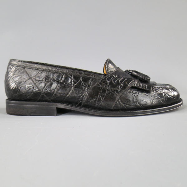 A.TESTONI Size 8.5 Black Textured Loafers