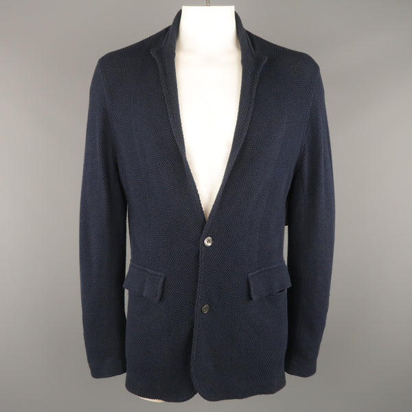 ADAM KIMMEL L Navy Textured Cotton Peak Lapel Cardigan Jacket