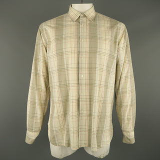 ADAM KIMMEL Size L Cream Plaid Cotton Button Up Long Sleeve Shirt